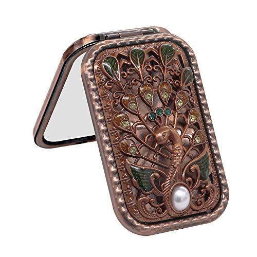 (Ivenf Antique Vintage Square Compact Purse Mirror Wedding/Christmas/Birthday Gift, Peacock Spreading Tail, Rose Copper)
