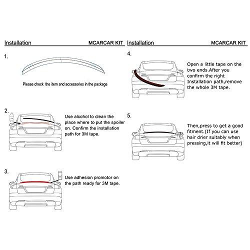 MCARCAR KIT Trunk Spoiler fits BMW 3 Series E90 325I 328I 330I 335I M Sport  M3 Sedan 2005-2012 Carbon Fiber CF Performance Look Rear Boot Lid Highkick