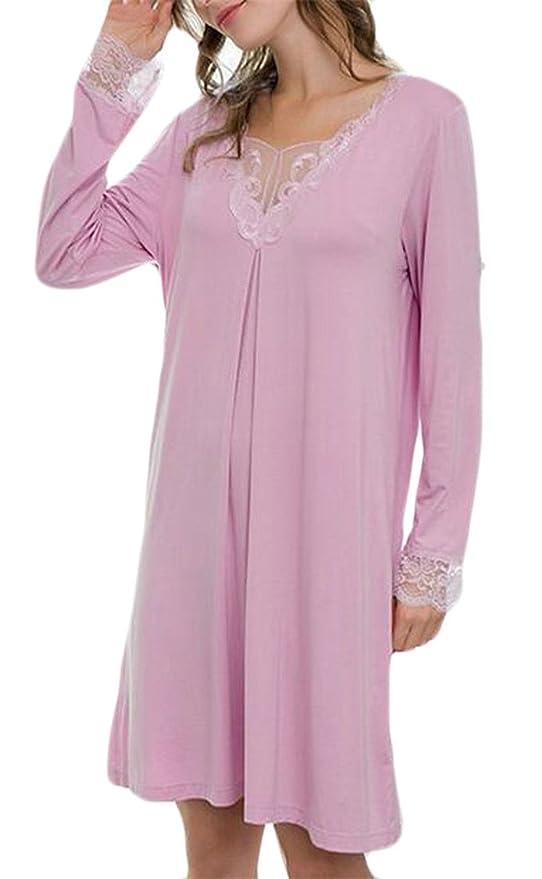 59a878005c HTOOHTOOH Womens Sleep Shirt Nightshirts Lace Trim V-Neck Long Sleeve  Sleepwear Dress at Amazon Women s Clothing store
