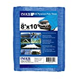 Inddy Tarps 8 x 10 Feet Blue Canvas Tarp Waterproof Poly Tarp 5 Mil Thick 8 x 8 Weave Heavy Duty tarp for Camping Wood Boat Truck Car Roof and UV Resistant