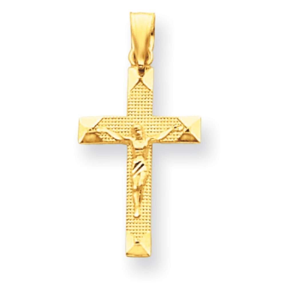 14k Yellow Gold Crucifix Polished Charm Pendant 23mx29mm
