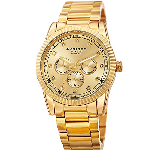 Akribos XXIV Men's Swiss Quartz Stainless Steel Casual Watch, Color:Gold-Toned (Model: AK958YG) ()