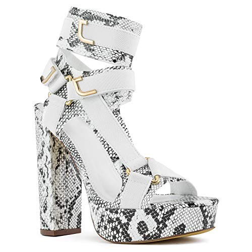 - RF ROOM OF FASHION Caged Harness Strap Chunky Platform High Heel Dress Pumps Sandals Snake Size.11