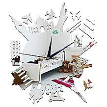 DIY Wall Hanging Clock Decal Murals ChezMax 3D City Wallpaper Sticker For Home Decorations