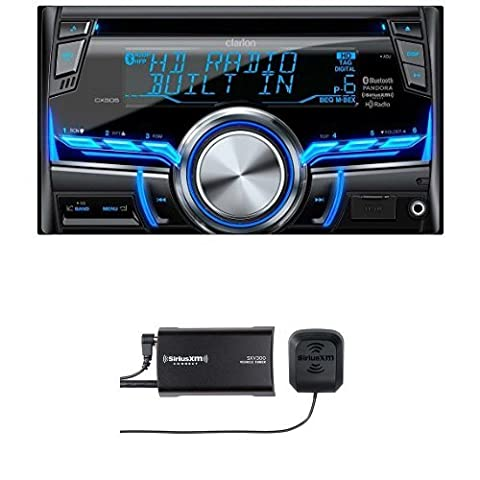 Clarion CX505 2-Din HD Radio/Bluetooth/CD/USB/MP3/WMA Receiver with SiriusXM SXV300v1 Connect Vehicle Tuner (Clarion Android)