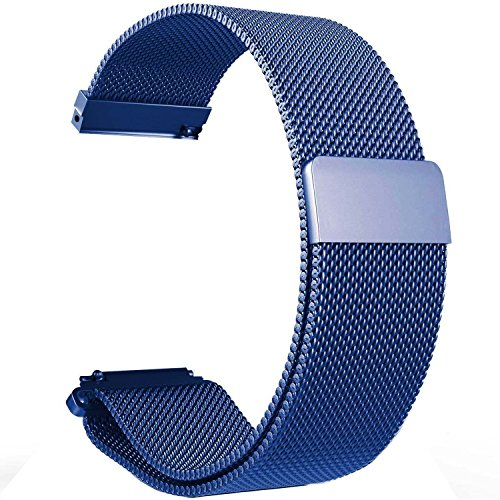 Replacement 22mm Metal Milanese Loop Watch Bands Straps for Pebble Time/Time Steel,Samsung Gear S3 Classic Frontier,LG G Watch,ASUS ZenWatch,Moto 360 2 (46mm) Smartwatch (Loop Blue) - Chrome Frontier Watch