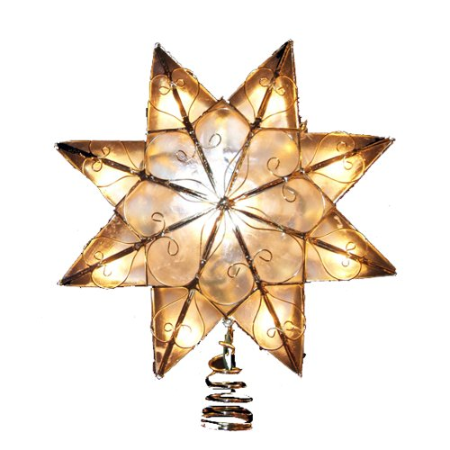 Kurt Adler Indoor 10 Light 8-Point Capiz Star Treetop with Arabesq (Large Image)