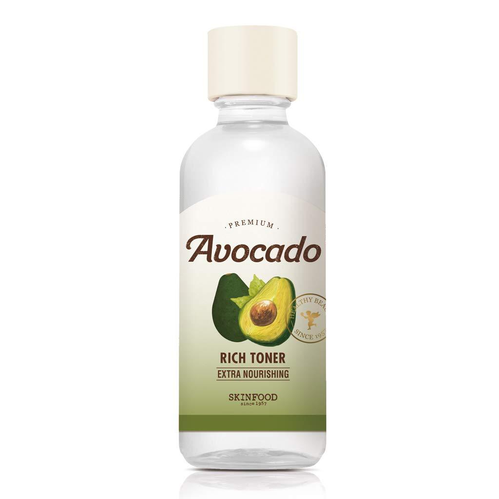 SKIN FOOD Premium Avocado Rich Toner 180ml - Moisture Rice Facial Toner, Skin Nourishing & Brightening with Vitamins and Minerals