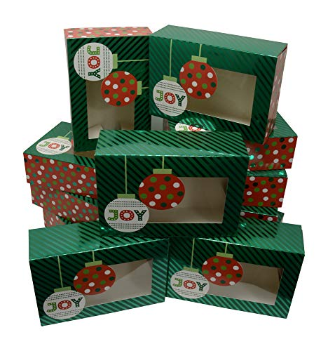 Christmas Cookie Gift Boxes; rectangle with clear window; Ornaments design with premium metallic hot-stamp stripes and polka-dots; set of 12 boxes