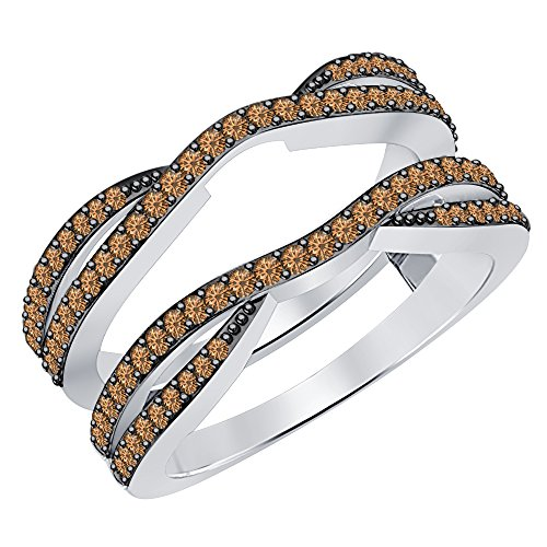 (0.50 Carat (ctw) 14K White Gold Plated .925 Sterling Silver Smoky Quartz Ladies Wedding Band Enhancer Guard Double Ring 1/2 CT (4-12))