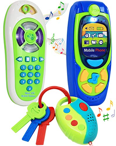 Click N' Play Pretend Play Cell Phone TV Remote & Car Key Accessory Playset for Kids with Lights Music & Sounds (Set of 3) (Toy Cell Phone For 1 Year Old)