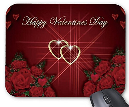Mouse Mat Gold Happy Valentine's Day Love Heart Shape Red Rose Mouse Pad -