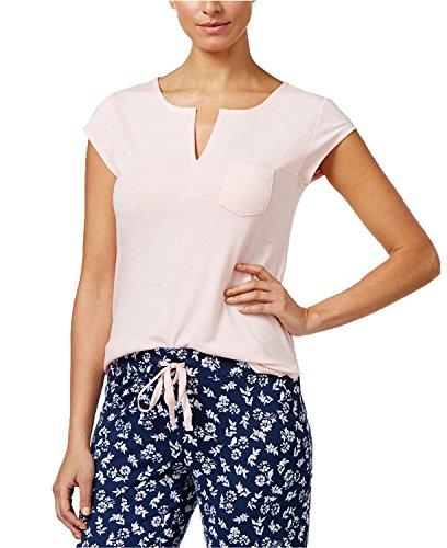 Alfani Split-Neck Pajama Top, Only at Rosy Quartz XL-Dark Pink-XL