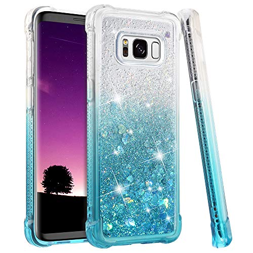 - Samsung Galaxy S8 Case, Ruky [Gradient Quicksand Series] Glitter Bling Flowing Liquid Floating Soft TPU Bumper Cushion Protective Women Girls Cute Case for Galaxy S8 - Gradient Teal