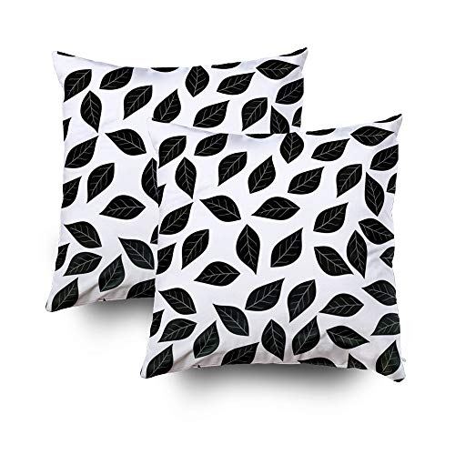 GROOTEY Birthday Gifts, Square Pillow Covers with Zip Couch Sofa Décor Wallpaper Leaves Illustratileaves Silhouettes Pattern Leaf Isolated White Background Black WHI 20X20 Set of 2 Throw Cushion