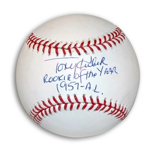 Autographed/Hand Signed Tony Kubek MLB Baseball Inscribed ''Rookie of the Year 1957-AL''