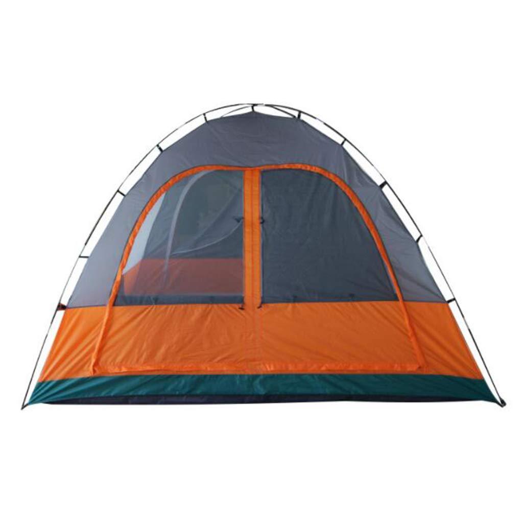 Unbekannt Zelt Im Freien Kampierendes Zeltwasserdichtes Sonnenschutzzelt Orange Graues Zwei-Schlafzimmerdoppelt 4-6 Leute Im Freiencampingzelt