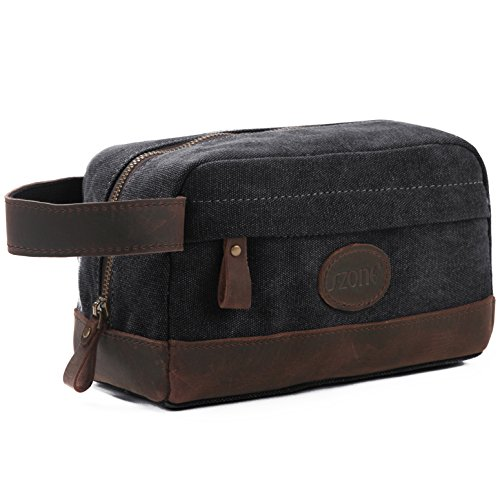 S-ZONE Vintage Leather Trim Canvas Toiletry Bag Shaving Dopp Case Cosmetic Makeup Bag (Dark gray)