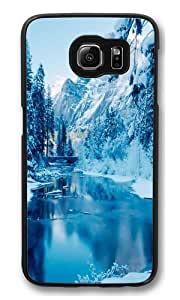 Blue Winter Polycarbonate Hard Case Cover for Samsung Galaxy S6 Black
