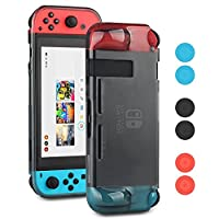 Nintendo Switch Tpu Case,Yteam Protective Case Cover for Nintendo Switch TPU Anti-Scratch Back Case for New Nintendo Switch 2017 with 8 Thumb Grips Caps-Black