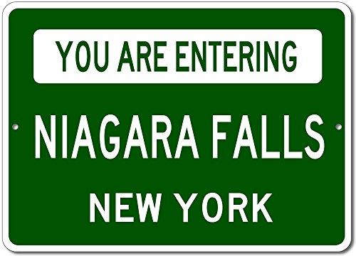 You Are Entering NIAGARA FALLS, NEW YORK USA - Custom City State Rectangular Aluminum Sign - Green - - Usa Shop Gift Niagara Falls