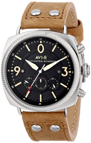 AVI-8-Mens-AV-4022-02-Lancaster-Bomber-Stainless-Steel-Watch-with-Tan-Leather-Band