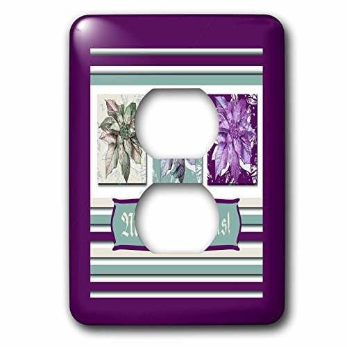 3dRose Beverly Turner Christmas Design - Poinsettias in Green, Aqua, and Plum Purple, Frame, Merry Christmas - Light Switch Covers - 2 plug outlet cover (lsp_267985_6)