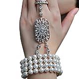 Zivyes Art Deco The Great Gatsby Inspired Pearl Flower Wedding Bridal Bracelet Bangle Ring Set