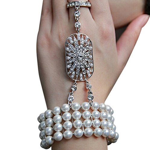 Zivyes Art Deco The Great Gatsby Inspired Pearl Flower Wedding Bridal Bracelet Bangle Ring (Great Gatsby Costume Accessories)