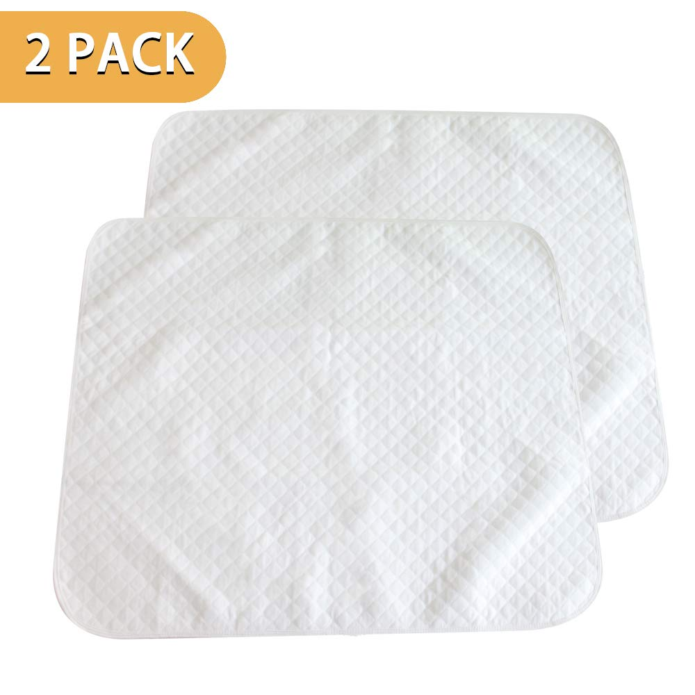 PX Home Toddler Mattress Pads, Waterproof Quilted Lap Pad Cover Bassinet Sheet Made with Organic Cotton, Natural Color, 2 Pack (27.6x 23.6)