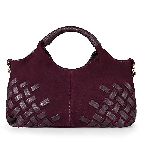 Nico Louise Women Weave Suede Genuine Leather Handbag Female Leisure Casual Lady Crossbody Shoulder Bag Messenger Top-handle Bags (Lake Blue small) (Suede Messenger)