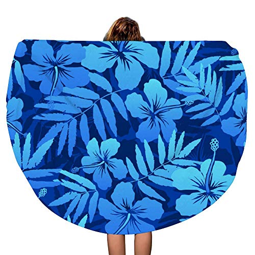 SARA NELL Thick Round Beach Towel Blanket - Hawaii Hawaiian Blue Tropical Flowers Large Circle 60 Inch Circular Mat - Ultra Soft Super Water Absorbent Multi-Purpose Towel