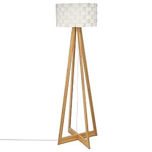 Lámpara de pie de estilo puro y simple - Pie de bambú y pantalla trenzada de aspecto fibra de vidrio
