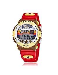 Kids Outdoor Sports Watch Children Waterproof Digital Alarm Dress Wristwatch for Girls(Red)