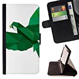 DEVIL CASE - FOR Sony Xperia m55w Z3 Compact Mini - Polygon Parrot Green White Bird Flight - Style PU Leather Case Wallet Flip Stand Flap Closure Cover