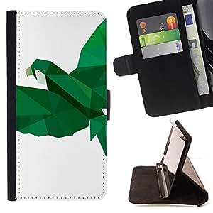 """For Samsung Galaxy J3(2016) J320F J320P J320M J320Y,S-type Loro Pájaro Blanco Verde Vuelo"""" - Dibujo PU billetera de cuero Funda Case Caso de la piel de la bolsa protectora"""