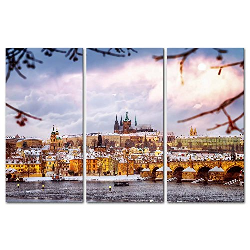3 Pieces Modern Canvas Painting Wall Art The Picture For Home Decoration Charles Bridge In Prague Czech In Winter With European Medieval Buildings Place Other Print On Canvas Giclee Artwork For Wall Decor