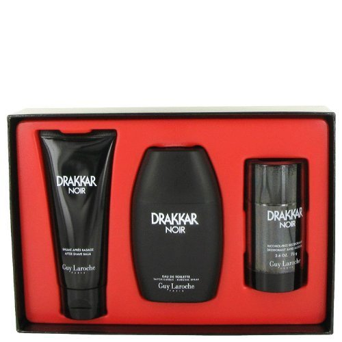 Drakkar Noir By Guy Laroche Gift Set -- 3.4 Oz Eau De Toilette Spray + 3.4 Oz After Shave Balm + 2.5 Oz Deodorant Stick Men