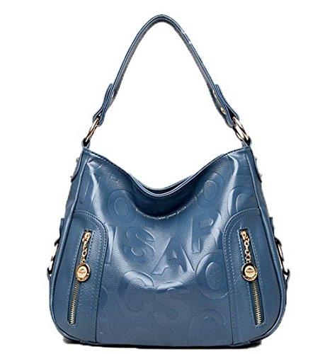 Azul de Compras Mujeres GMXBB180958 Pu AgooLar cruzados mano Cremalleras Bolsas Bolsos FBwa4