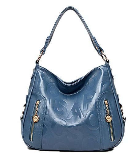 de Pu Bolsos Azul Compras Cremalleras Mujeres cruzados mano AgooLar Bolsas GMXBB180958 Anw6UpqnE