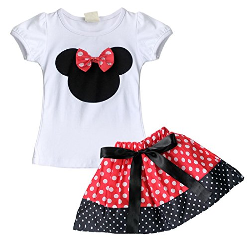 Minnie Mouse Toddler Outfit (YiZYiF Baby Girl Minnie Mouse Bow T-Shirt Top Skirt/Pants Dress 2 Pieces Outfits Set Red Skirt 6-12 Months)