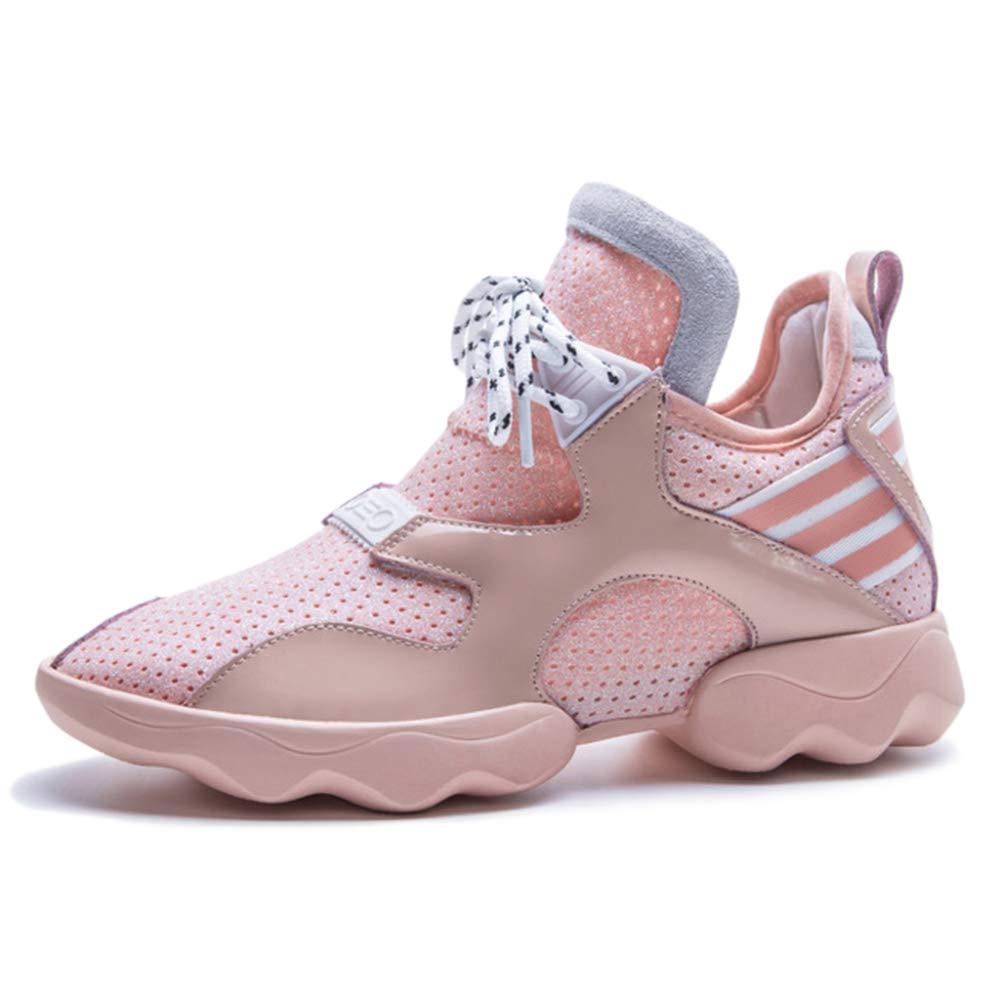 Zapatillas Inferiores Planas De Malla Gruesa De Fondo Zapatillas De Deporte Casuales Para Mujer Real Cuero Transpirable Entrenadores Caminar Senderismo Gimnasio 34|Pink