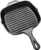 Utopia Kitchen Pre-Seasoned Cast-Iron Square Grill Pan, 10.5-inch