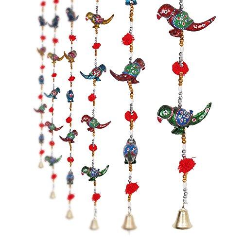 eCraftIndia Parrot Mirror work Door Hanging Metal Tapestry Artificial Beads - Set of 2 by eCraftIndia
