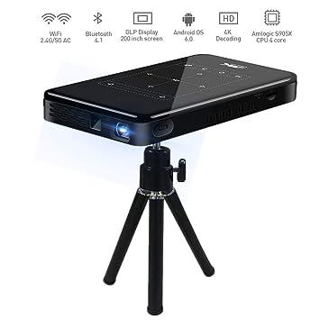 Garsent Mini DLP proyector, 3D 4K HD 1080P portátil Inteligente ...