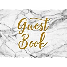 Guest Book: White Marble Chic Guest Book for Wedding Bridal Baby Shower Birthday Graduation Parties Memorials Sign InJournal for Visitors Blank Lined Pages (8.25 x 6) Softback Cover