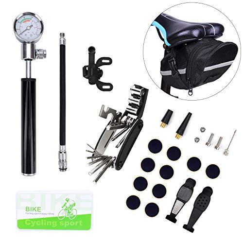 Bike Tire Repair Tool Kit with Mini Gauge Hand Pump, Including 210PSI Bicycle Air Pump Fit Schrader Presta, 16 in 1 Multi Bicycle Fix Tools, Tire Puncture Repair Kit and One Cycling Seat Pack ()