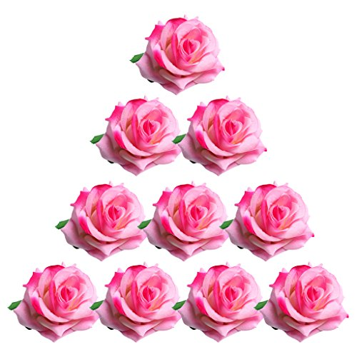 (Jili Online 10 Pieces Handmade Artificial Flannel Rose Flowers Heads Buds DIY Scrapbooking Flower Kiss Ball For Wedding Home Party Decoration - pink)