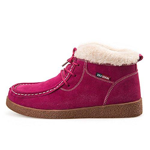 Neige Plates Boots Plateforme Doublure Pour De Rose Bottines Femme Chaude À Fourrées Antidérapage Sitaile Lacets Hiver Cuir Chaussures Bottes twY74Zqz
