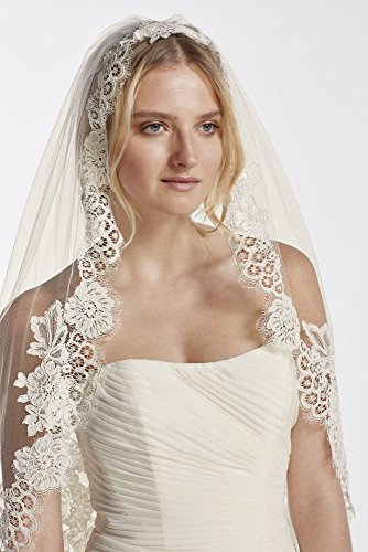 One Tier Mid Veil with Trailing Lace Style WPD16266M, Ivory by David's Bridal